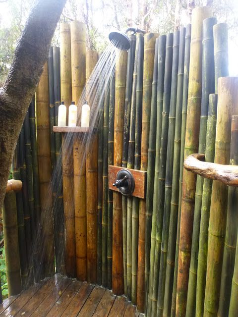 Outdoor Shower Great With Bamboo
