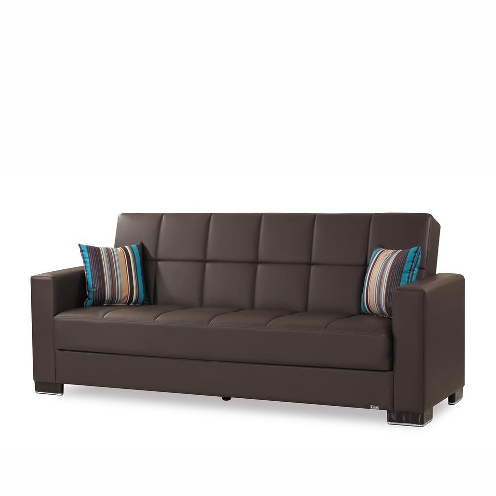 Ottomanson Armada Brown Leatherette Upholstery Sofa Sleeper Bed