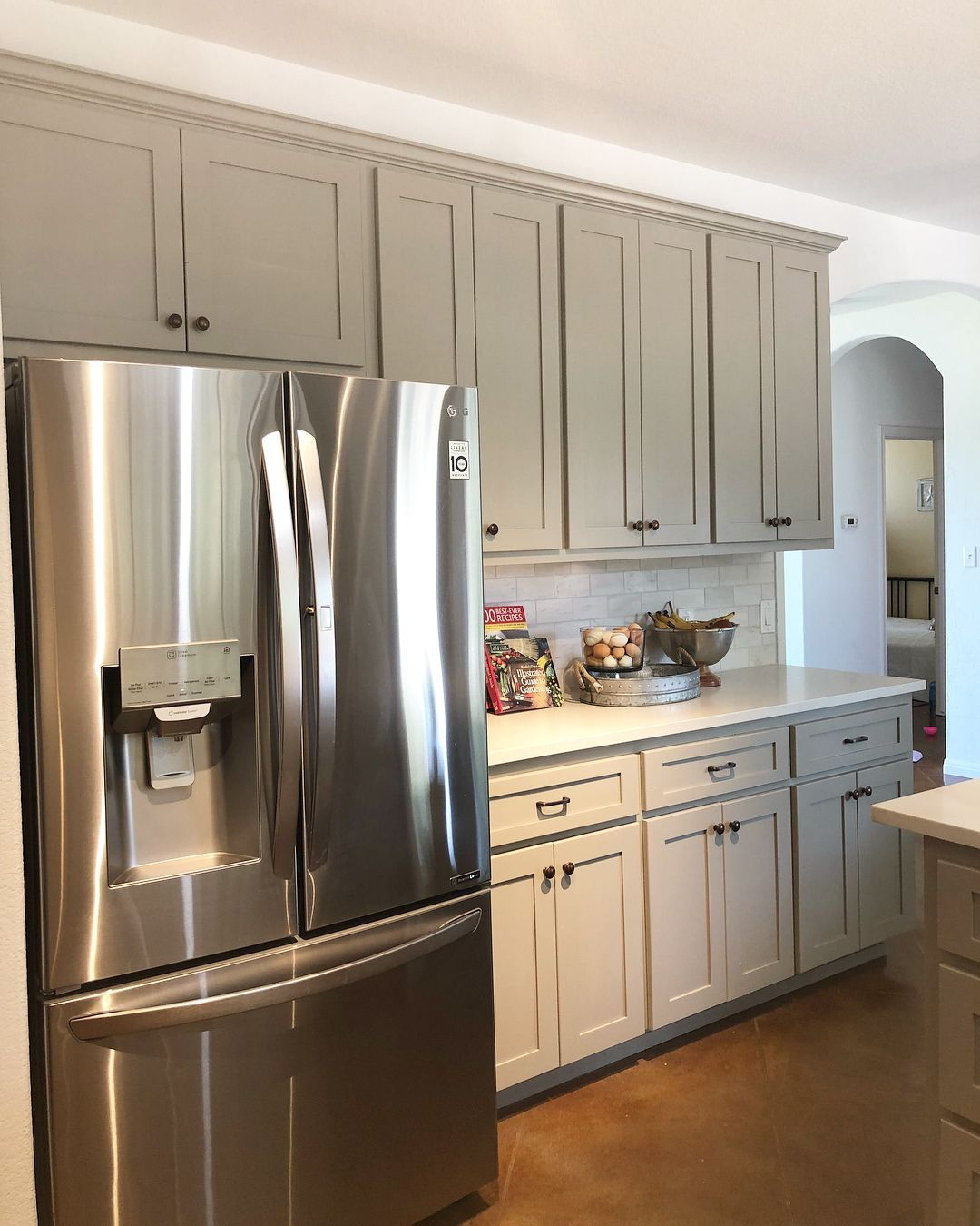 Aline County Road 481 On Instagram Sw Dorian Gray On These Cabinets And New Carrara Q In 2020 Quartz Kitchen Countertops Kitchen Design Small Grey Kitchen Cabinets