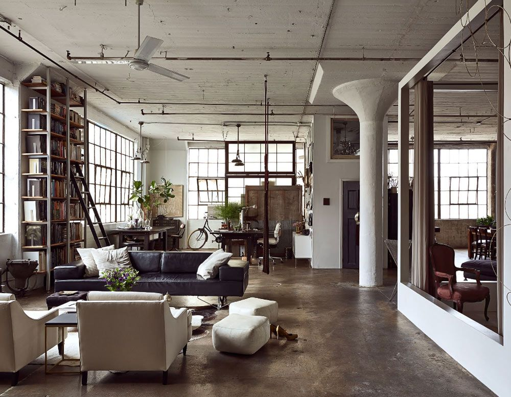 Oracle Fox Sunday Sanctuary Brooklyn Loft Apartment Bright Lounge Room Fireplace Black Couch