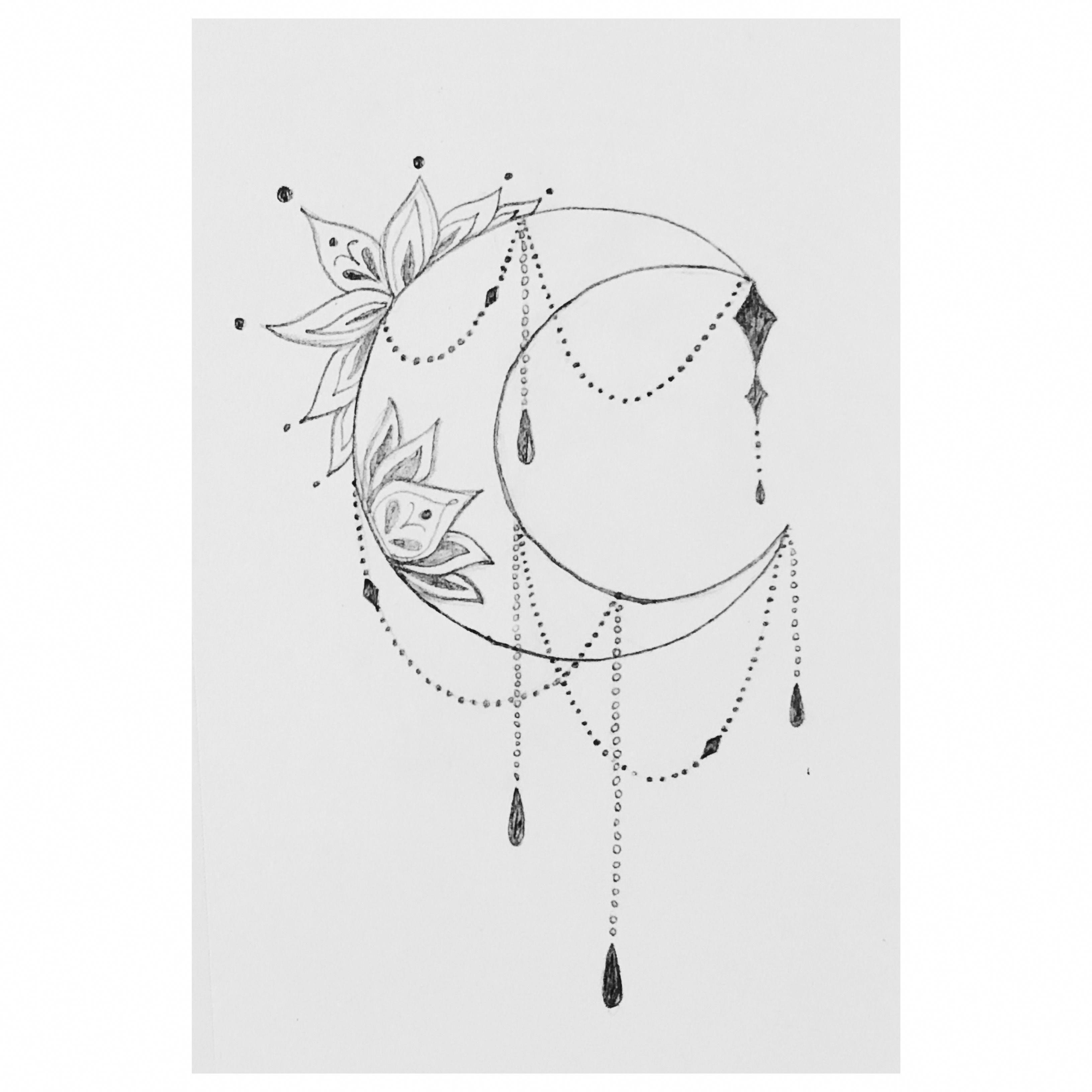 Crescent Moon Drawing // Tattoo idea (sideboob)