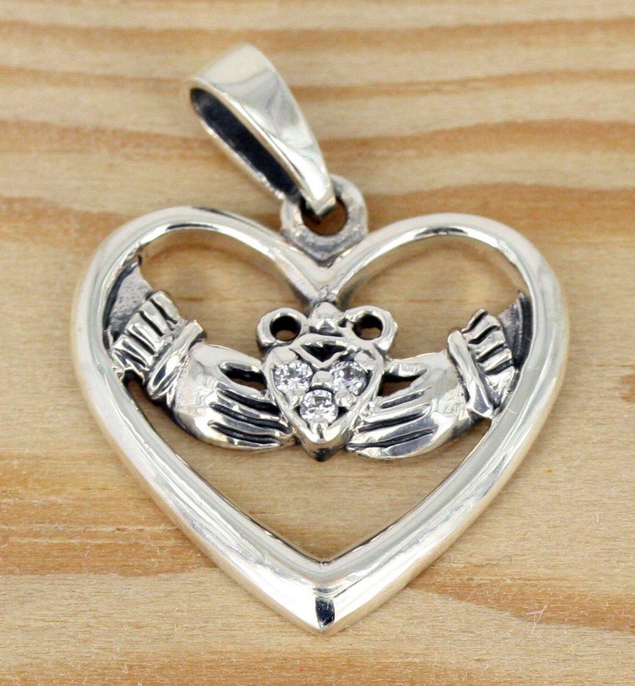 Details zu Anhänger Silber Zirkonia Keltisch Claddagh Für Liebe ...