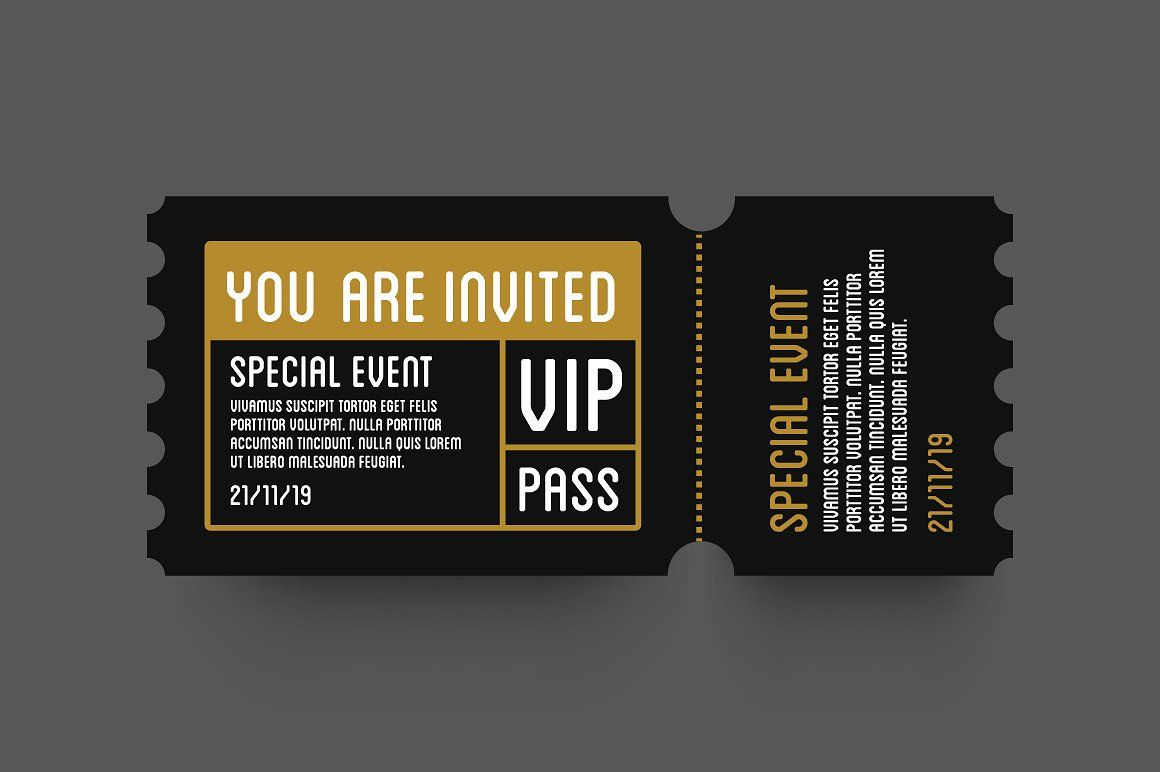 Vip Entry P Ticket Stub Design Dengan Gambar Pengeditan