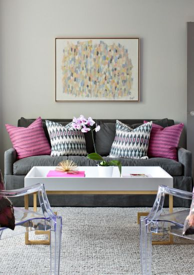 Pink Couch Gray Living Room: Abstract Art, Grey Sofa, Pops Of Pink, Greek Key Cocktail