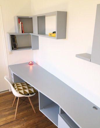 Bureau et étagères sur-mesure dans un studio du0027étudiant Decoration