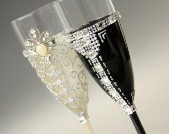 Navy Wedding Glasses Champagne Glasses Champagne от NevenaArtGlass