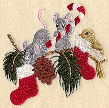Boughs of Christmas Animals Embroidered Waffle Weave Hand Towel