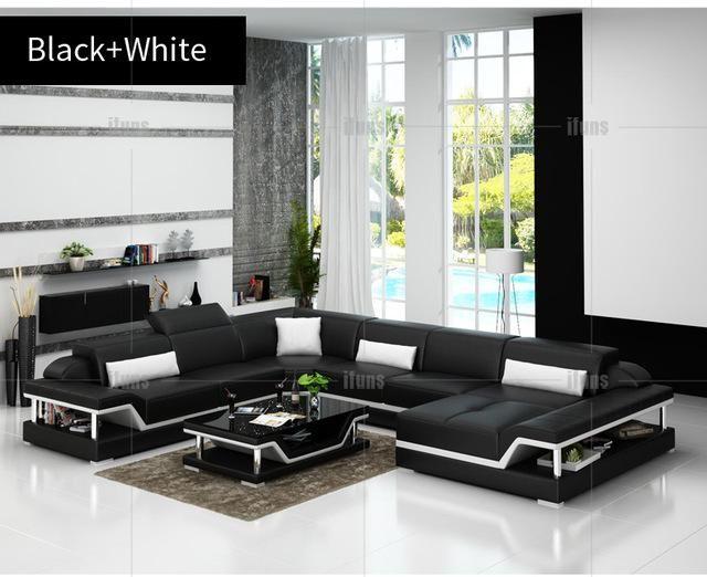 Pleasant Ifuns U Shaped Black Genuine Leather Modern Sectional Sofa Creativecarmelina Interior Chair Design Creativecarmelinacom