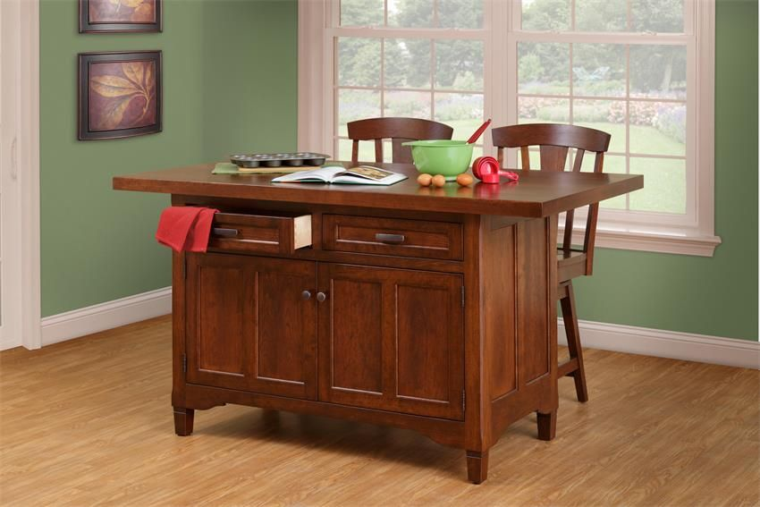 Amish Solid Wood Kitchen Island - Lexington Two Doors and ...