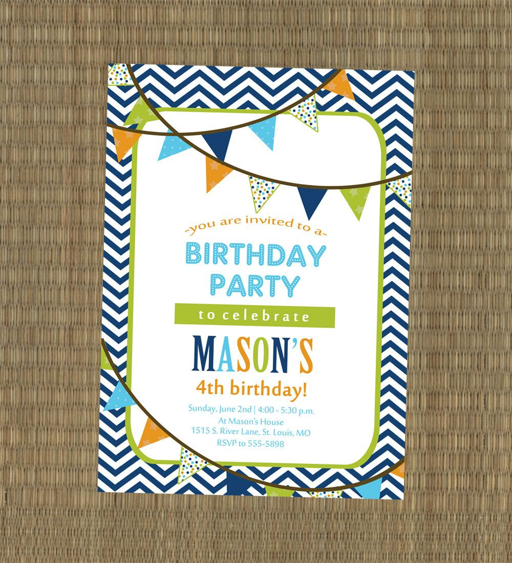 Printable Boys Birthday Party Invitation By EThreeDesignStudio 1500