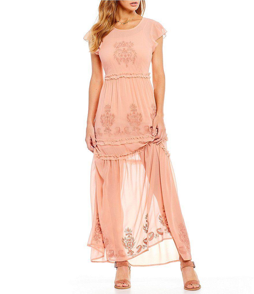 9f54b6d3 Chelsea & Violet Embroidered Ruffle Prairie Maxi Dress   McKenzie's ...