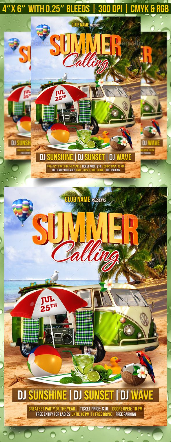 Summer Calling Flyer Template  Flyer Template Party Poster And