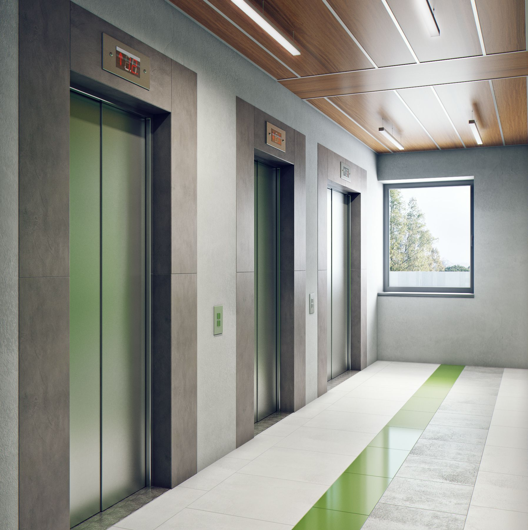 Оформление лифтового холла в жилом доме