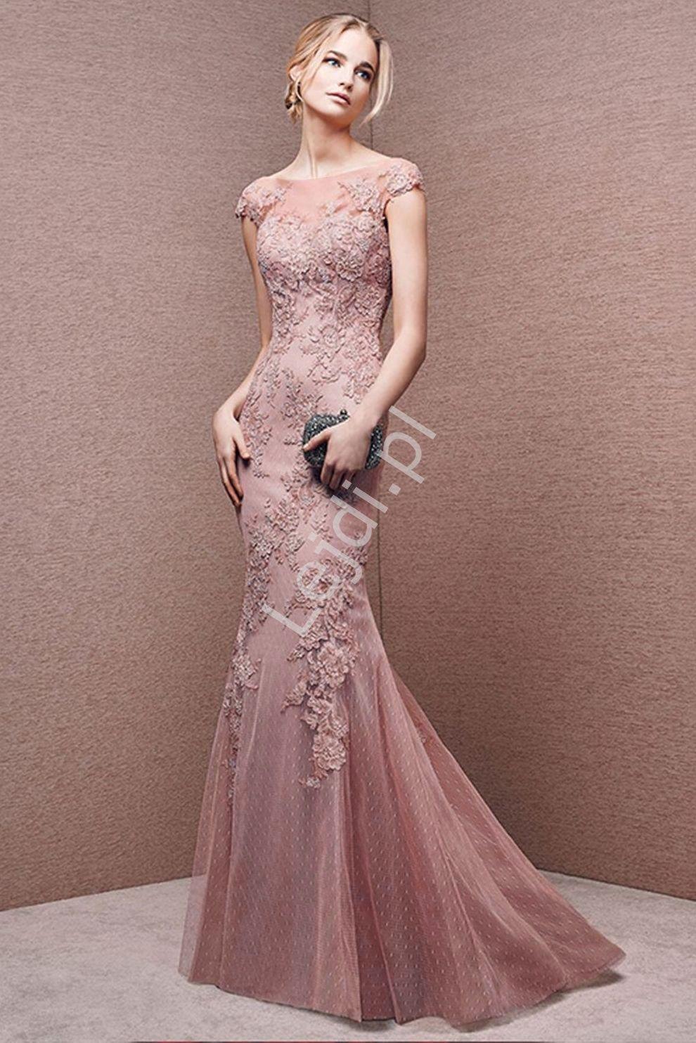 0214a8a7f2b Przepiękna suknia wieczorowa w kolorze zgaszonego różu. Fason blisko ...