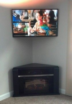 Corner wall mount for flat screen tv decorating idea - Hanging tv on wall ideas ...