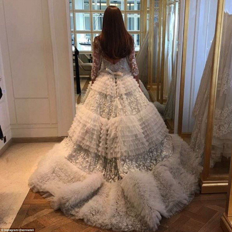 Princess dress: Deli wore an incredible couture dress for the wedding, which featured a bodice with lace detail and a full lace and ruffled skirt