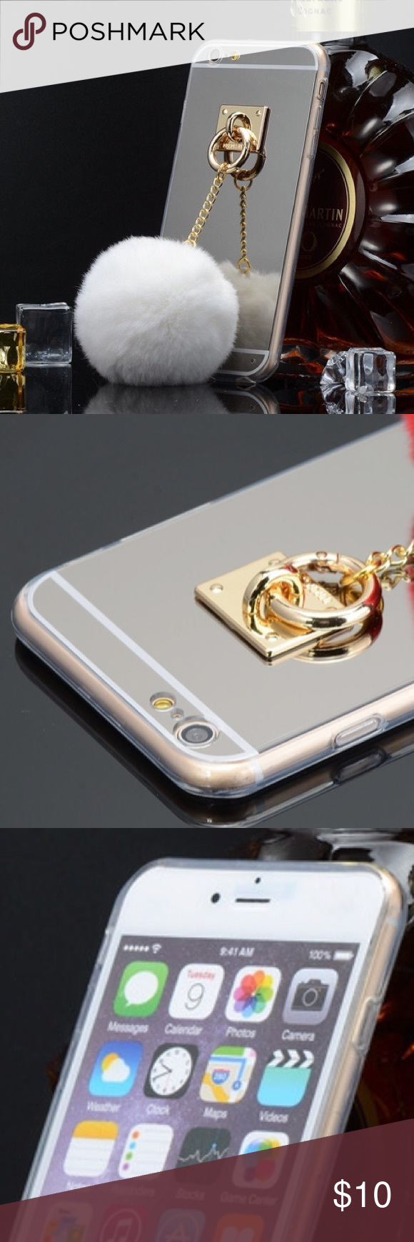 Mirror and fur ball iPhone 6/6s case Silver mirror case with gold color chain and white fur ball. For an iPhone 6/6s Accessories Phone Cases