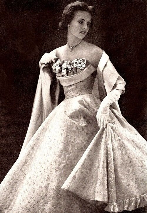 Model in an evening gown, 1950s, | ♡ 1950s Fashion ♡ | Pinterest ...
