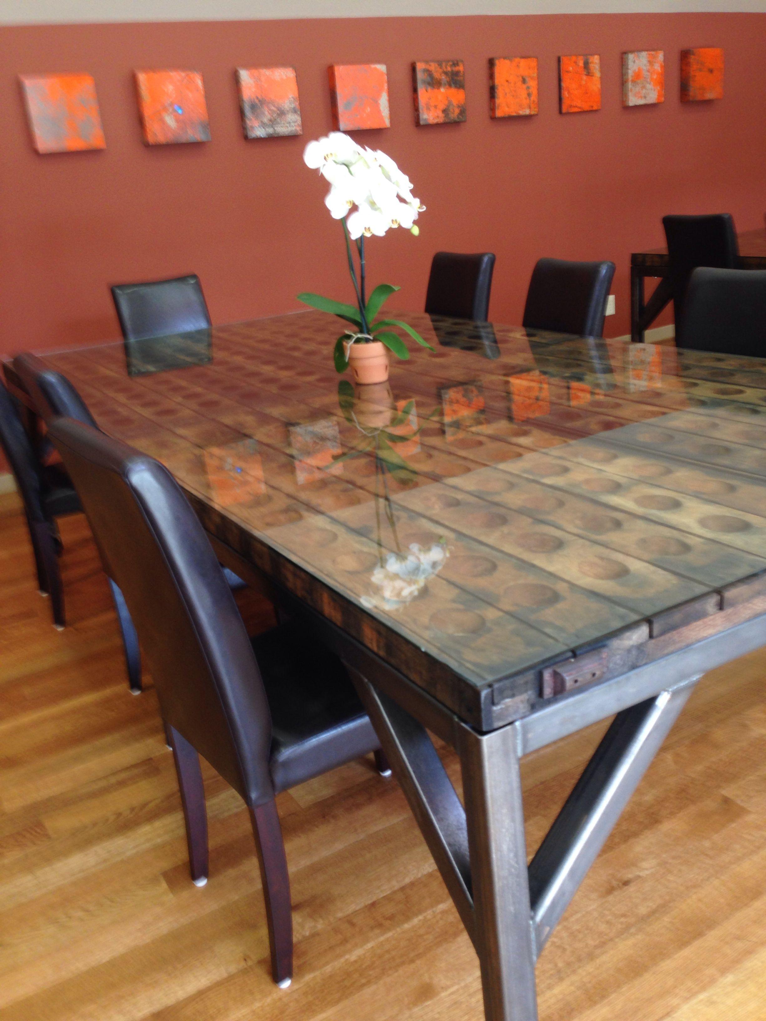 Riddling Rack Table Custom Metal Base Artesa Winery
