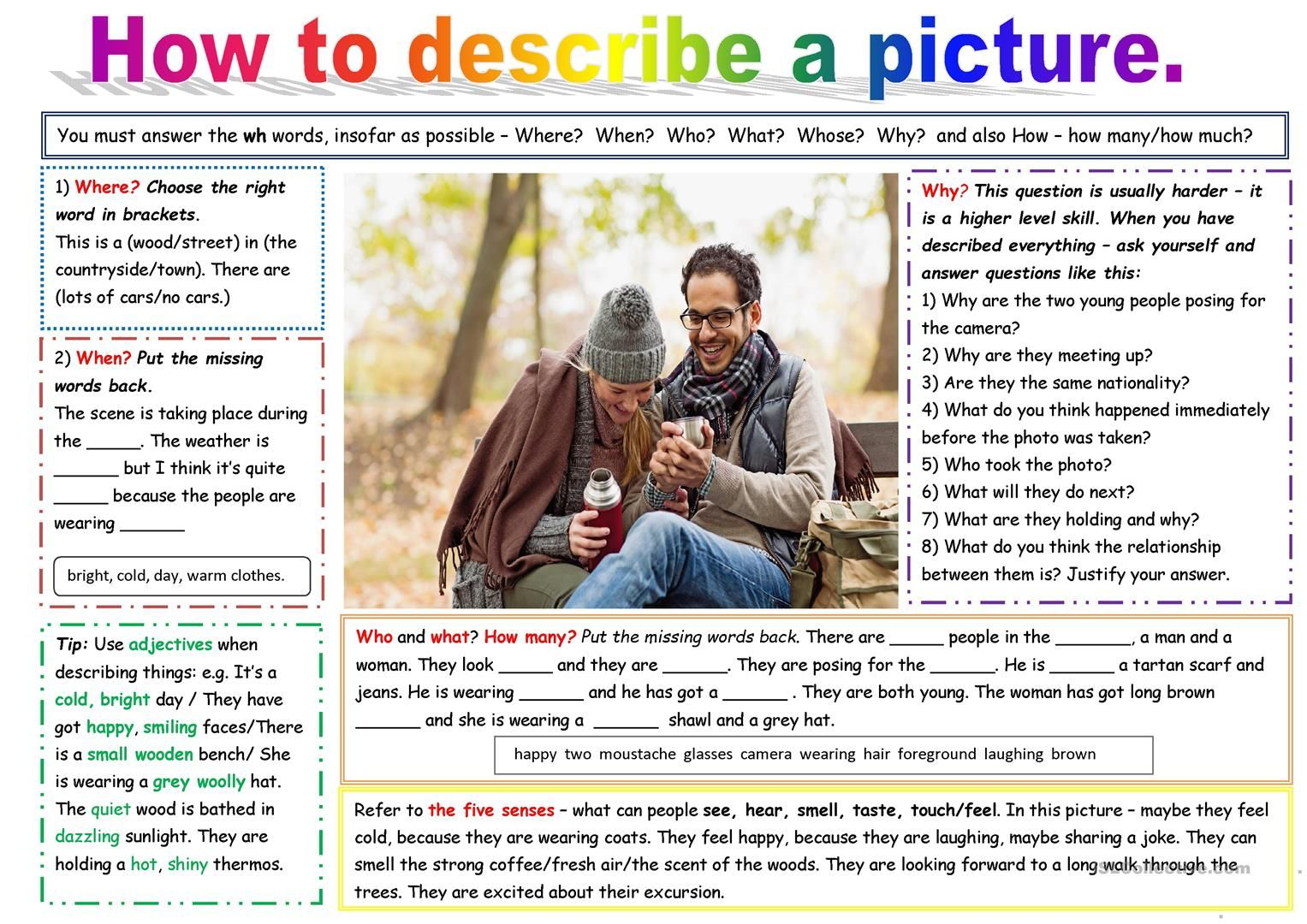 Picture Description Worksheet