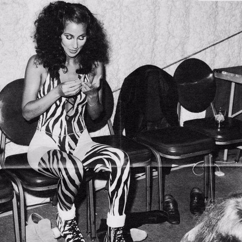 Cher roller skating late 1970s. . . . . . vintage
