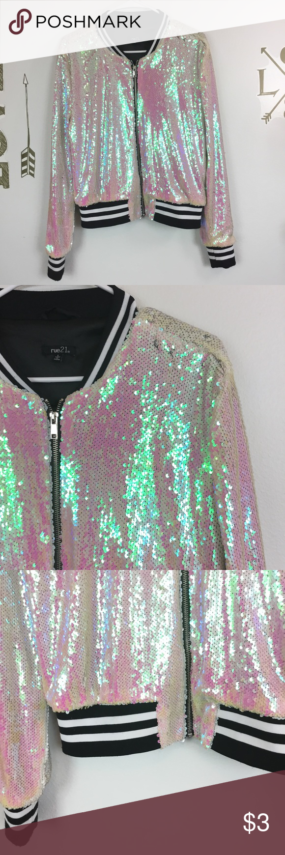 RUE 21 SEQUINED VARSITY JACKET RUE 21 IRIDESCENT SEQUINED VARSITY JACKET size large  Zips up in front Excellent condition Rue21 Jackets & Coats #varsityjacketoutfit