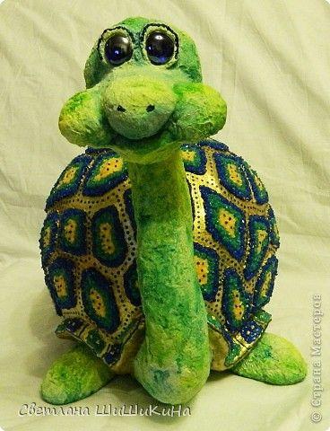 Скульптура Новый год Лепка Золотая Черепаха Гипс фото 1 ...