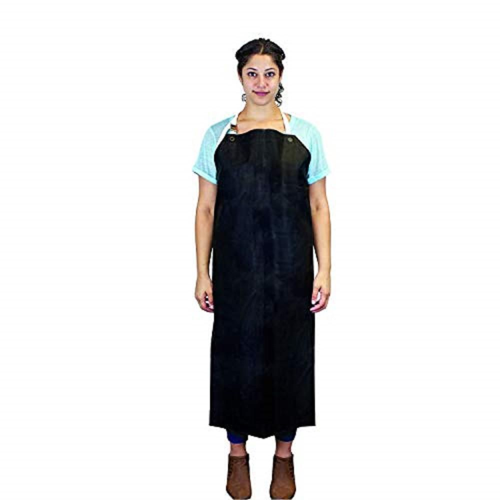 SAFE HANDLER Heavy Duty Nitrile Industrial Bib Apron Chemical and Oil Resistant Black