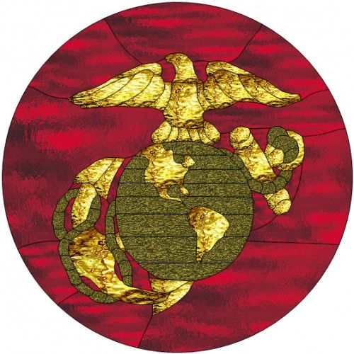 Red And Gold Marine Corps Emblem Painted