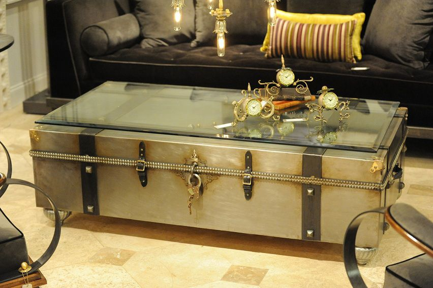 Delicieux Metal Trunk Coffee Table With Glass Top