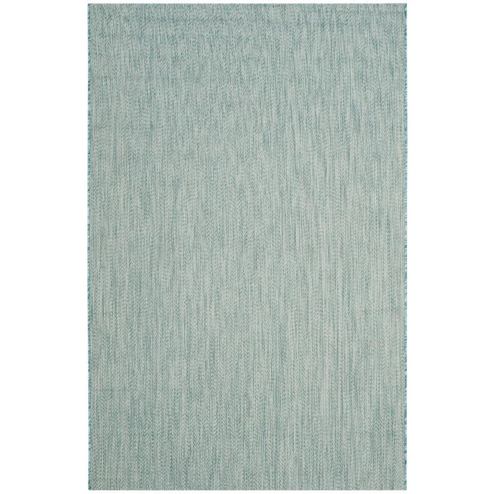 Courtyard Aqua/Gray (Blue/Gray) 5 ft. 3 in. x 7 ft. 7 in. Indoor ...