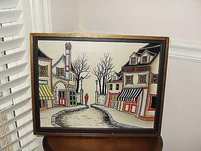 Original Vintage Colorful French Village Serigraph Painting *Framed*SGN. Benet*