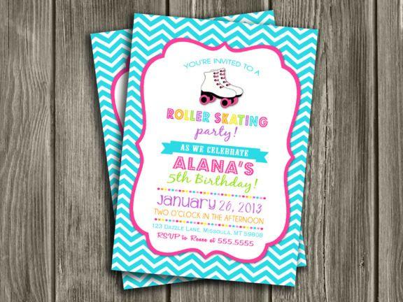 Printable Chevron Roller Skating Birthday Invitation – Free Printable Roller Skating Party Invitations