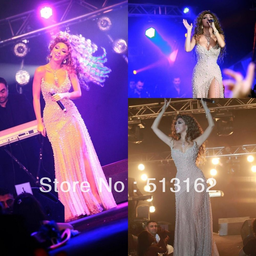 Peal Beaded Myriam Fares Celebrity Dresses White Long Gown