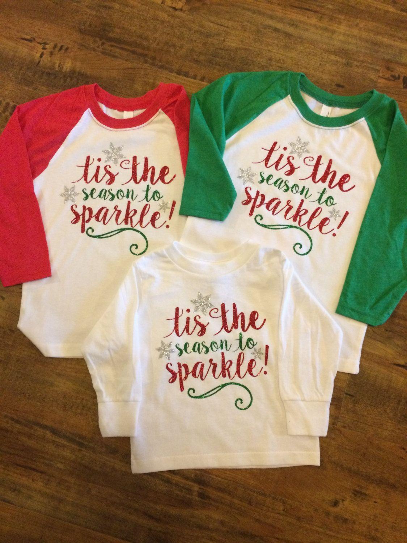 614b02e15327 Tis the season to sparkle T-shirt; Youth Christmas Raglan Shirt; Child's  Christmas