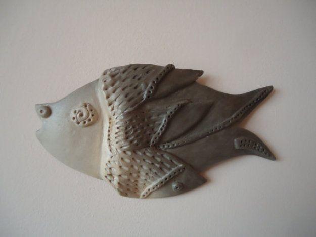 Cute fish. Cream and gray. Ceramic wall decor. Ceramic wall sculpture #Artmosfair
