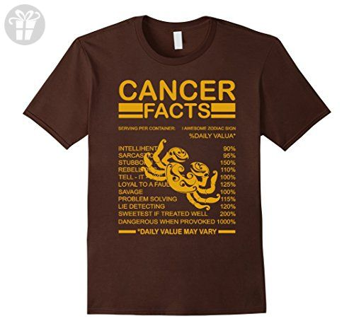 Mens Birthday Zodiac Sign Gift Cancer Facts T-Shirt Medium Brown - Birthday shirts (*Amazon Partner-Link)