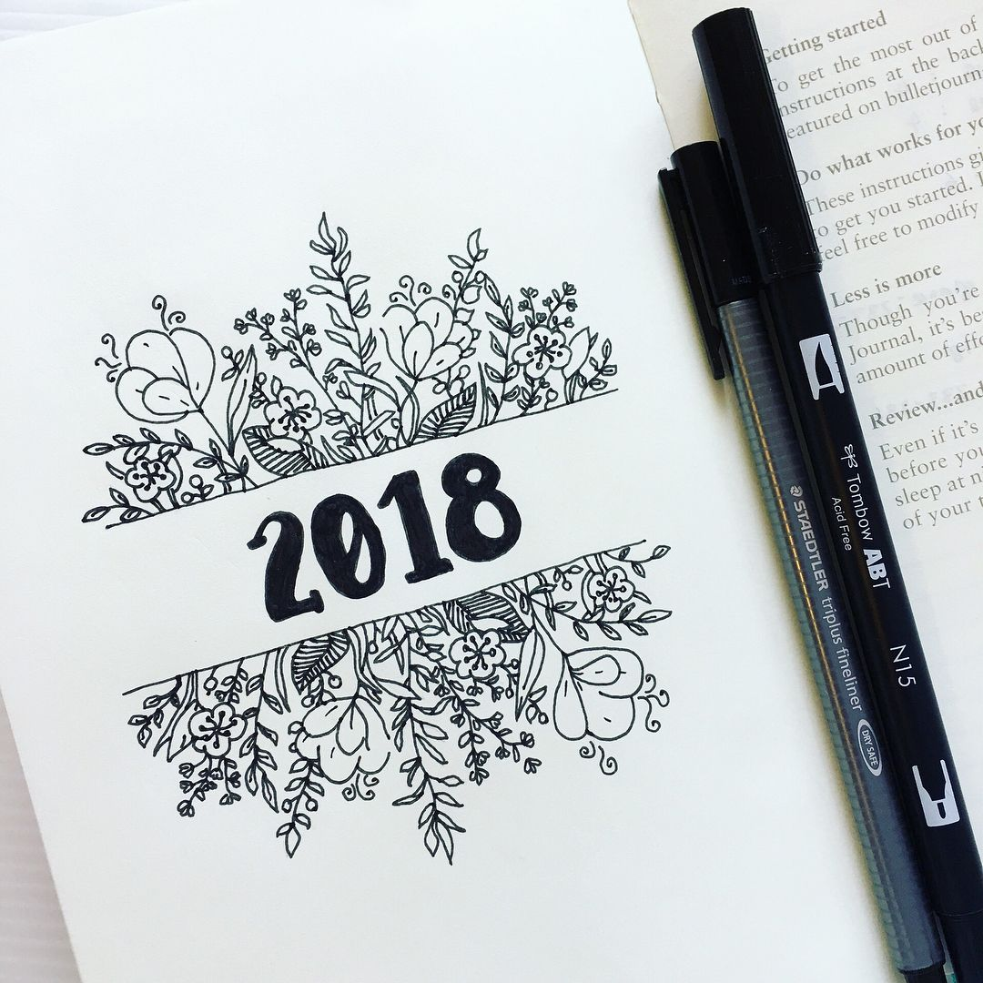 Bullet journal yearly cover page flower drawings floral drawings