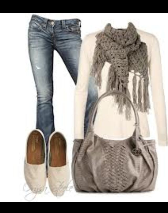 love the colours here. Like the grey scarf and bag. However I would wear boots or heels. Love distressed jeans.