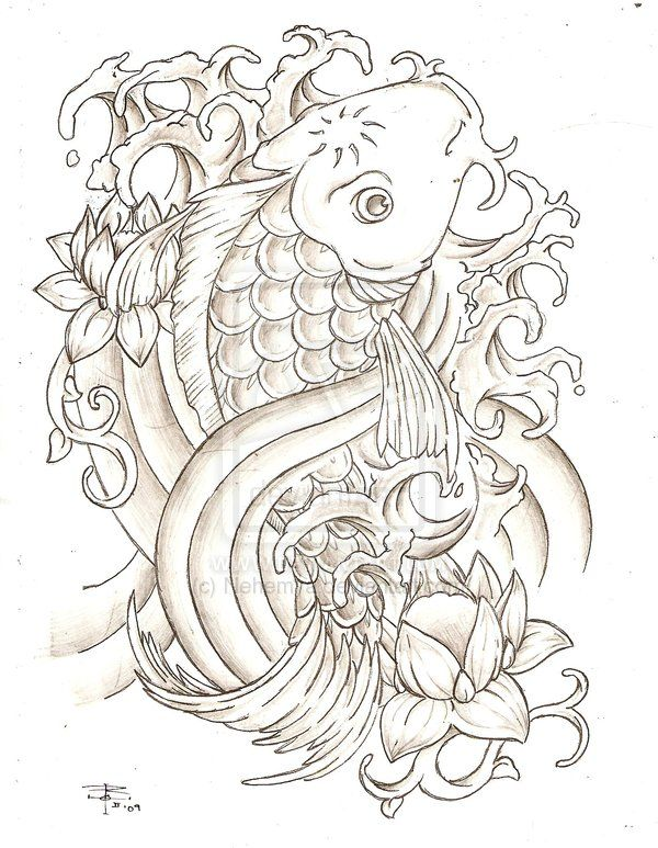 Koi fish tattoo drawings greyscale koi fish by nehemya for Koi fish sketch