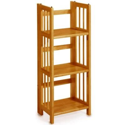 Home Decorators Collection Multimedia Storage 14 In W Honey Oak Folding Stacking Bookcase