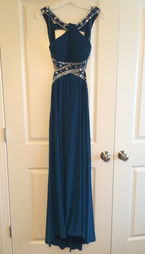 Davids Bridal Prom Dress Tealblue Size 6 Unaltered Open Back W