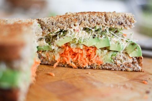 Spicy Hummus, Carrot, Cucumber, Avocado and Alfalfa Sprout Sandwich..... I'd swap carrots with turkey or tuna.
