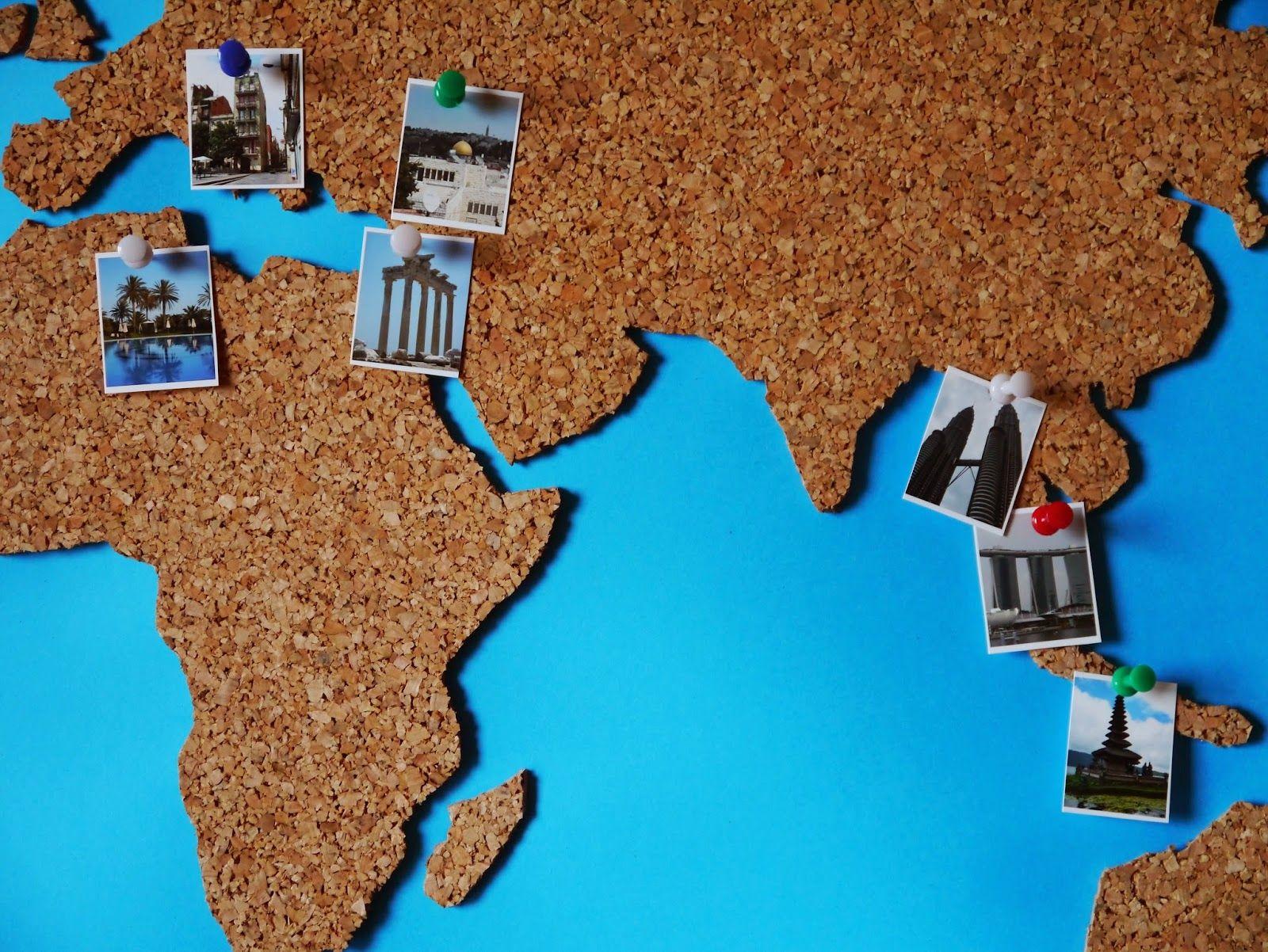 Cork map diy pinterest basteln weltkarte und - Weltkarte basteln ...