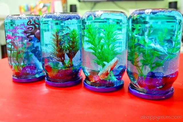 Creativity 521 36 diy snow globe aquarium knutselen for Mini aquarium boule