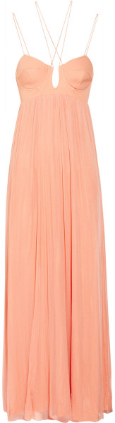 Stretch Silk and Tulle Maxi Dress - Lyst