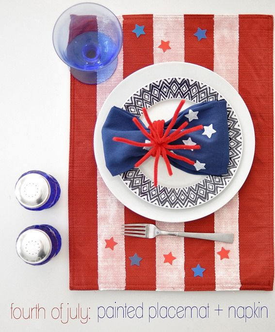 4th Of July Painted Placemat Napkin Centsational Style 4th Of July Patriotic Holidays Patriotic Decorations