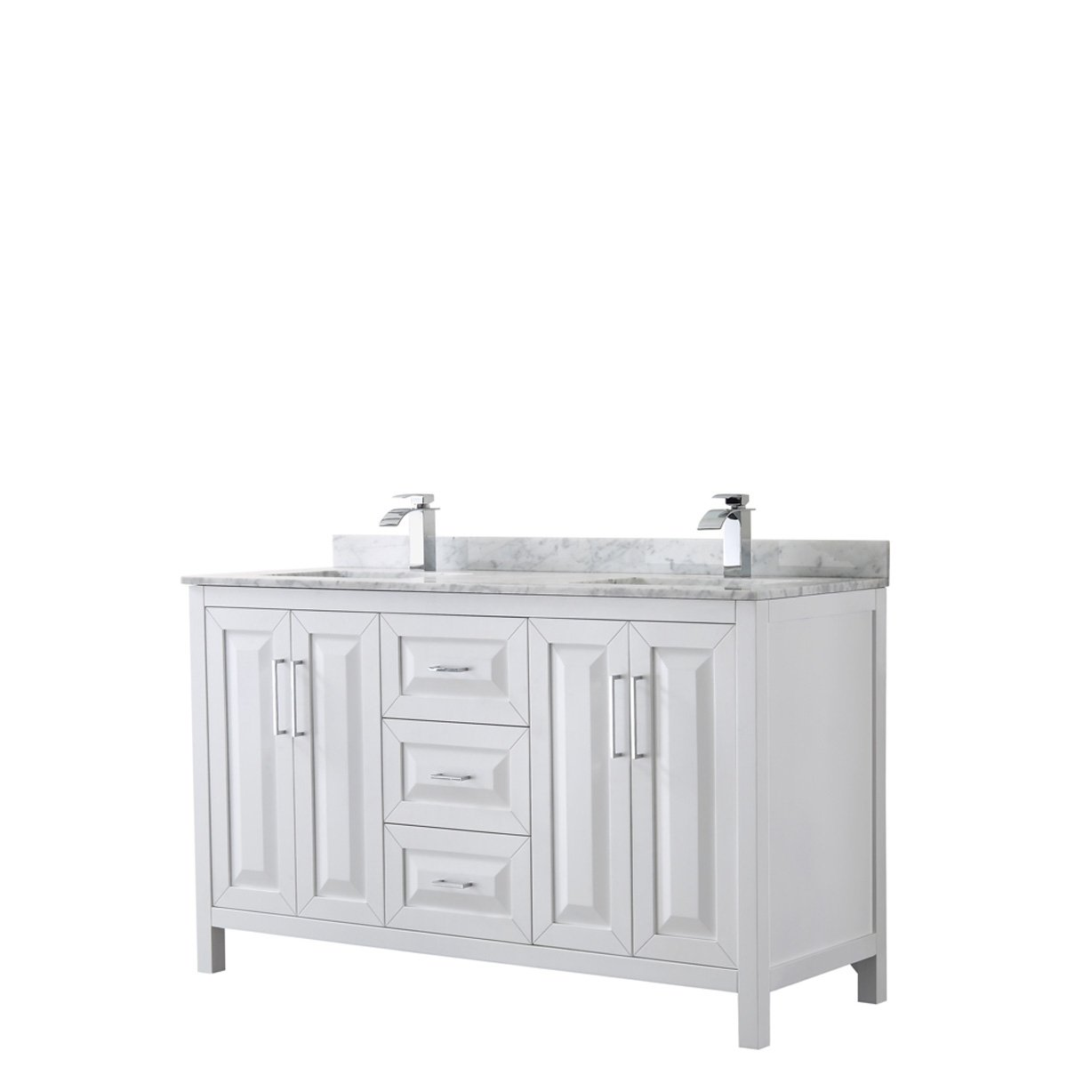 Daria 60 Inch White Double Vanity Marble Top No Mirror Wyndham