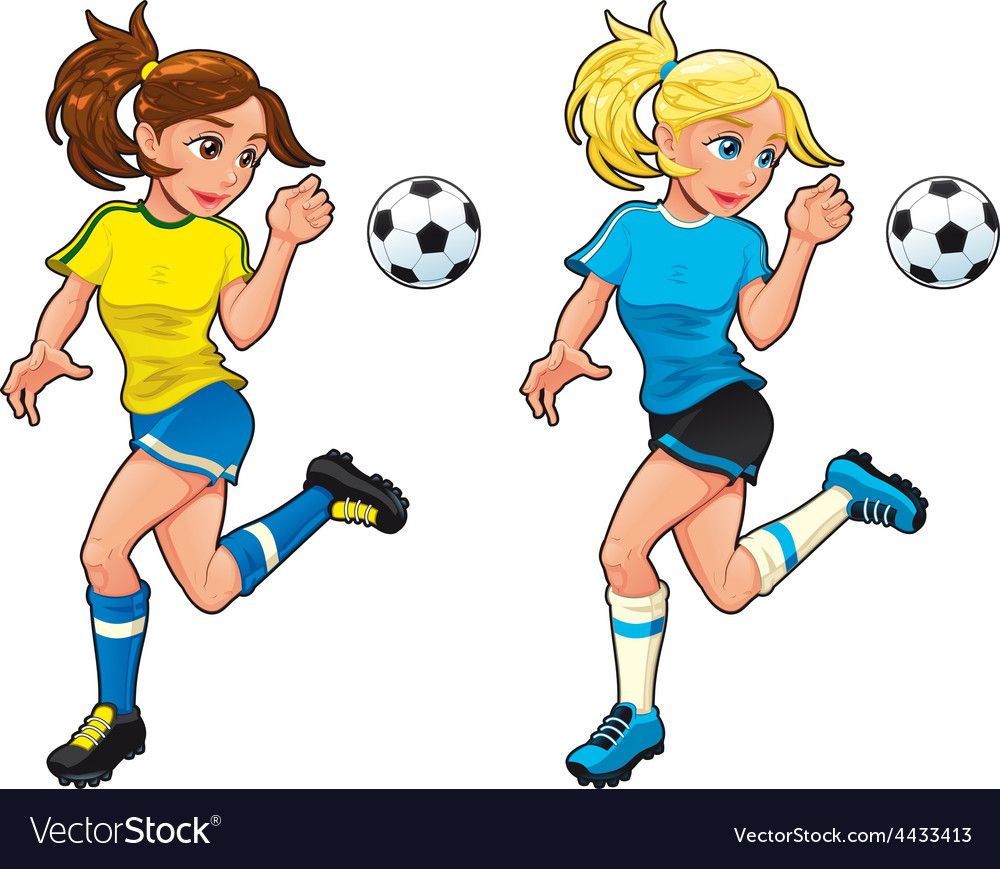Soccer Female Players Vector Image On Vectorstock Soccer Happy Cartoon Sport Illustration