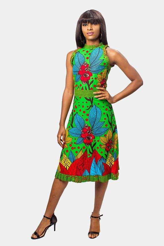 f21237308f688 Beautiful Colourful Fit and Flare African Print Ankara Dress with Pleatings  on neckline, arms and dress bottom Perfect for a party or any social event  The ...